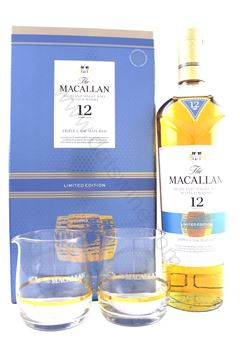 Picture of The Macallan 麥卡倫 12 (Triple Cask) with 2 glasses